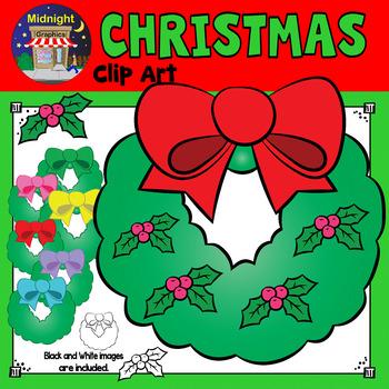 Christmas Clip Art - Wreath with Holly