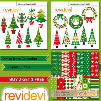 Christmas Clip Art - Christmas trees, wreath clipart - bundle