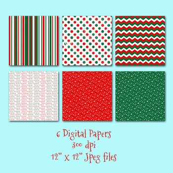 Christmas Clip Art and Digital Paper Kit - PNG and EPS Vector Included