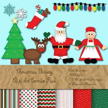 Christmas Clip Art and Digital Paper Kit - PNG and EPS Vec