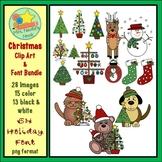 Christmas Clip Art and Font Bundle