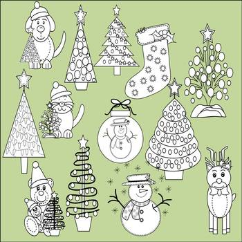 Christmas Clip Art and Font Bundle