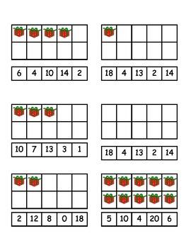 Christmas Clip Card Ten and Twenty Frames