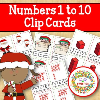 Christmas Clip Cards Numbers 1 to 10