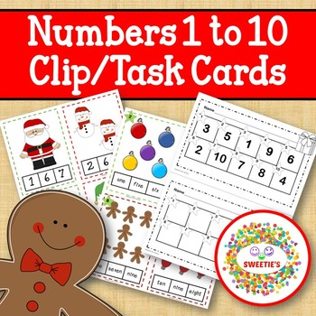 Christmas Clip Cards and Task Cards Count 1 to 10
