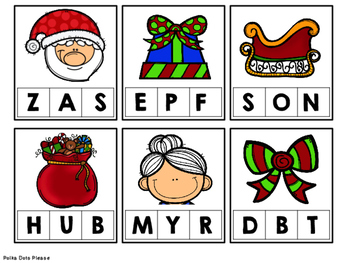Christmas Clip Cards for Beginning Sounds