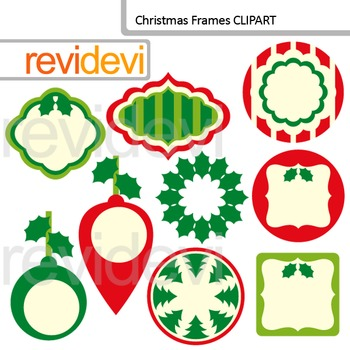 Christmas Clip art / frames, labels, tags / xmas red green / commercial use