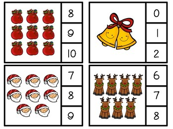 Christmas Clip or Cover Counting Cards
