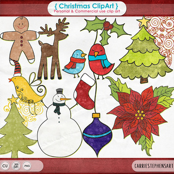 Christmas ClipArt, Poinsettia, Snowman, Deer, Christmas Tree - Happy Holidays