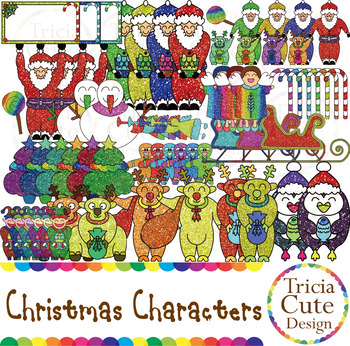 Christmas Clip Art Santa Elf Snowman Gingerbread Angel Penguin Sleigh Reindeer