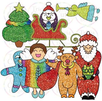 Christmas Clip Art Santa Elf Snowman Gingerbread Angel Penguin Sleigh Reindeer