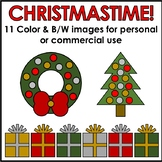 Christmas Clipart 11 Images in Color & B/W Personal or Com
