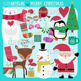 Christmas Clip Art   Polar Bear   Snowman   Santa   Christmas Tree