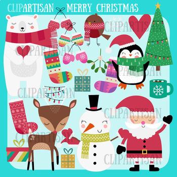 Christmas Clip Art | Polar Bear | Snowman | Santa | Christmas Tree