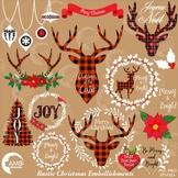 Christmas Clipart, Antler Clip Art, Deer Clipart Rustic Cabin Christmas AMB-2106