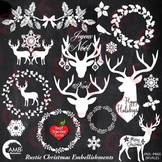 Christmas Clipart, Antler Clip Art, Deer Clipart, Rustic Christmas AMB-2105