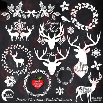 Christmas Clipart, Antler Clip Art, Deer Clipart, Rustic ...