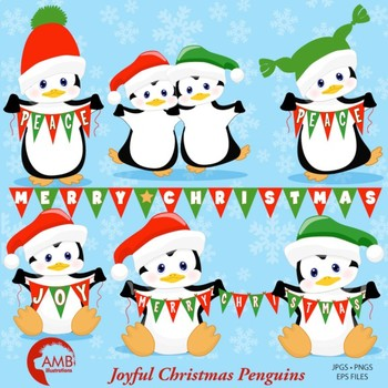 Christmas Clipart, Baby Penguin Clipart, Banner Clipart, AMB-1128