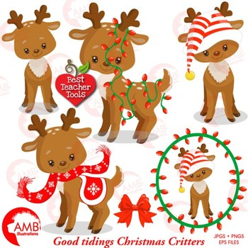 Christmas Clipart, Baby Reindeer Clipart, Forest Critters, AMB-1558