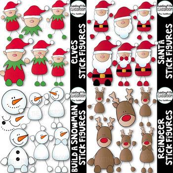 Christmas Clipart Bundle {Christmas Stickfigures Clipart}