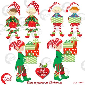 Christmas Clipart, Christmas Boy Elves, Christmas Tree Clipart, AMB-1529