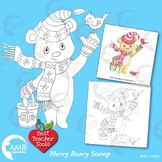 Christmas Clipart, Digital Stamp Clipart, Christmas Bear Clipart, AMB-1541