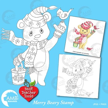 Christmas Clipart, Digital Stamp Clipart, Christmas Bear Clipart, AMB-1541