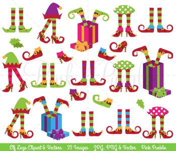 Christmas Clipart, Elf Legs Clip Art, Elf Feet Clipart, Elf Legs Clipart