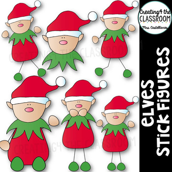 Christmas Clipart {Elves Stick Figures}