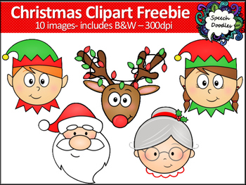 Christmas Clipart Freebie -10 images! Elf, Santa, Mrs Claus and Reindeer Clipart