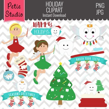 Christmas Clipart // Holiday Tooth Clipart // Tooth Fairy Clipart - Winter129