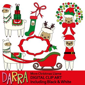 Christmas Clipart Llama Alpaca Clip Art By Darrakadisha