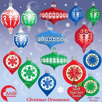 Christmas Clipart, Old Fashioned Ornaments AMB-1531