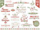 Christmas Clipart, Red Green Christmas Scrapbook Embellishment Frame Border 0423