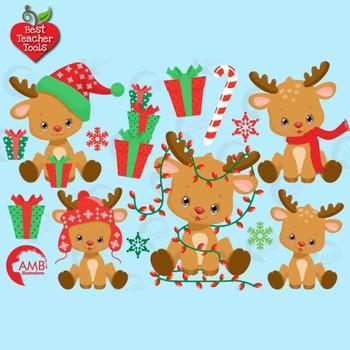 Christmas Clipart, Reindeer Clipart, Cute Baby Baby Reindeer, AMB-2288
