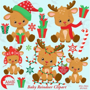 Deer christmas. Clipart reindeer cute baby