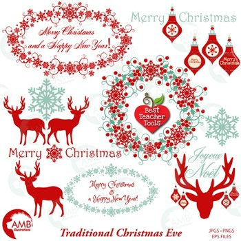 Christmas Clipart, Reindeer Clipart, Old Fashioned Ornaments AMB-1117