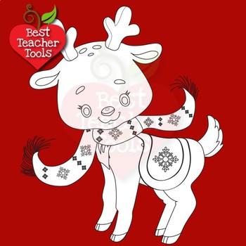 Christmas Clipart, Reindeer Digital Stamps, Cute Baby Baby Reindeer, AMB-2290