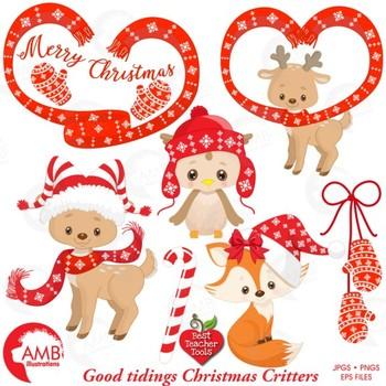 Christmas Clipart, Reindeer, Owl, Fox Clipart, Forest Critter Clip Art, AMB-1510