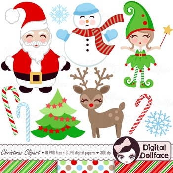 christmas clipart santa clause snowman elf amp reindeer