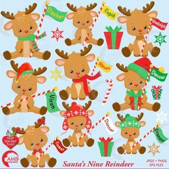 Christmas Clipart, Santa's Reindeer Clipart, Cute Baby ...