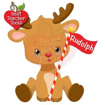 Cute Christmas Clip Art.Christmas Clipart Santa S Reindeer Clipart Cute Baby Baby Reindeer Amb 2291
