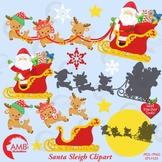Christmas Clipart, Santa's Reindeer and Sleigh Clipart, Christmas Eve AMB-2294