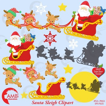 Christmas Eve Clipart.Christmas Clipart Santa S Reindeer And Sleigh Clipart Christmas Eve Amb 2294