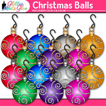 Metallic Christmas Ball Clip Art {Ornaments and Bulbs for Digital Scrapbooking}