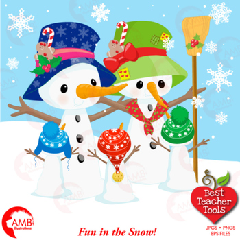 Christmas Clipart, Snowmen Family Cliparts, Candy canes and Gifts, AMB-1512