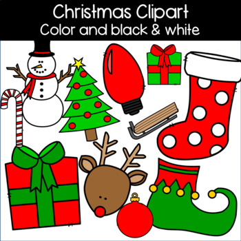 Christmas Clipart: Stocking, Reindeer, Tree, Ornament, Candy Cane, Sled, & more!