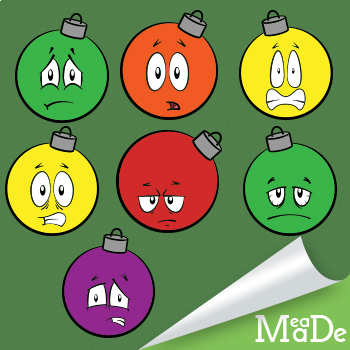 Christmas Clipart Tree Bulb Ornaments - Facial Expressions Pack 1