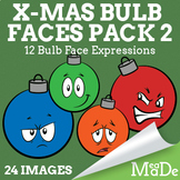 Christmas Clipart Tree Bulb Ornaments - Facial Expressions Pack 2