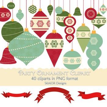 Christmas Clipart Tree Ornaments Decorations Garlands Clip Art Scrapbooking